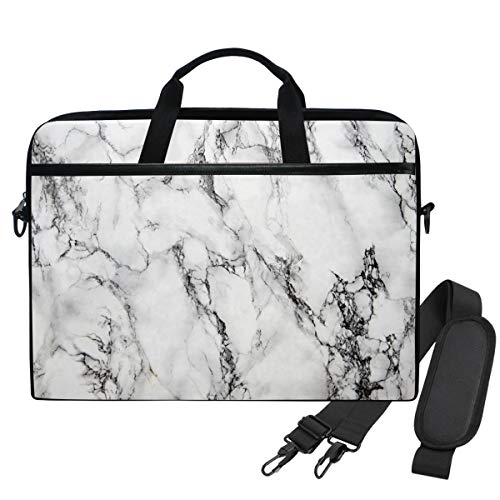 Emoya Laptopn Bag Marble Black And White Messenger Laptop Shoulder Bag Compatible 13.3-14 Inch Computer
