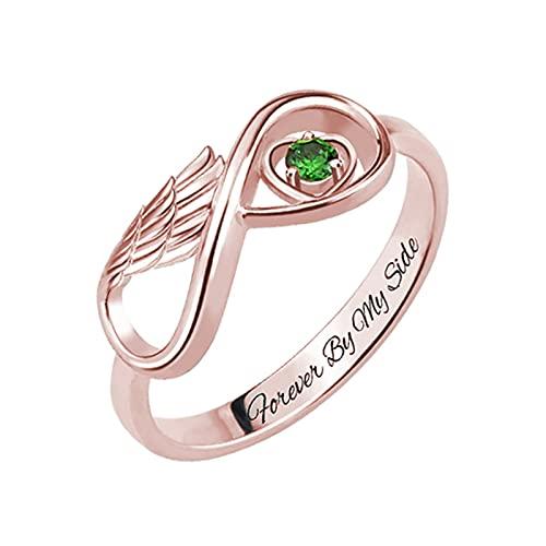 Anillo de plata con piedra natal personalizada, alas de ángel, anillo con nombre, anillo de promesa para mujer cumpleaños familiar(Oro rosa 17.5)