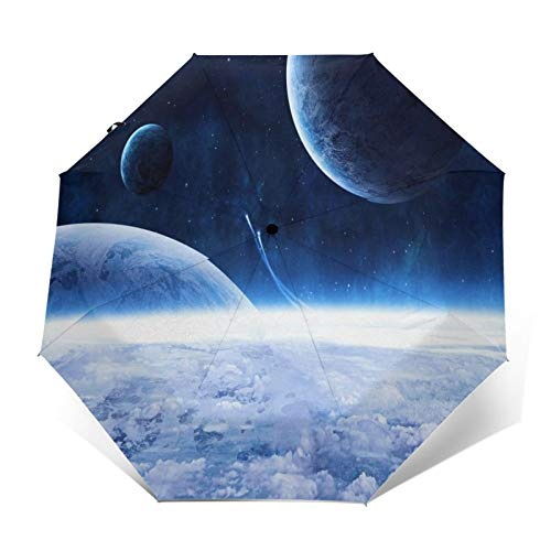 TISAGUER Regenschirm Taschenschirm,3D Blue Mysterious Fantasy Universe Space,Planeten und Meteore,Auf Zu Automatik,windsicher,stabil