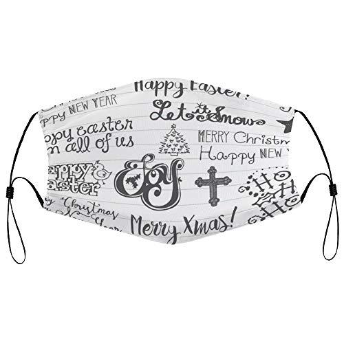 Dkisee Fashion Unisex Staubmaske mit Filterelement, verstellbare Ohrschlaufen-Gesichtsmaske für den Außenbereich, Schutzmaske für Weihnachten, Ostern, Kritzeleien