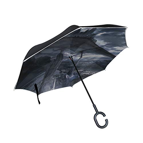 MJG Rocks Mountains Eminence City Inverted Umbrella Large Double Layer Outdoor Rain Sun Car Reversible Umbrella