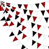 10M/32Ft Red Black White Banner Halloween Party Decorations Triangle Flag Fabric Pennant Garland Bunting for Wedding Graduation Birthday Pirate Casino Mickey Mouse Ladybug Theme Hanging Festival Decor