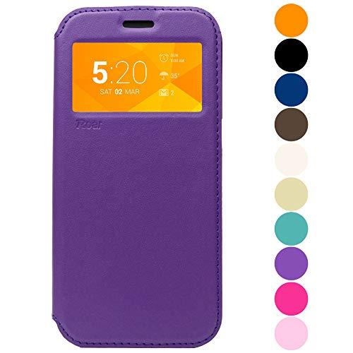 Roar Flip Case Hülle für Samsung Galaxy S5 Mini, Handyhülle Schutzhülle Tasche Handytasche für Samsung Galaxy S5 Mini, Violett