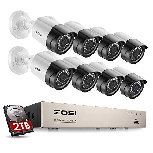 ZOSI 1080P Kit de Cámara Vigilancia 8CH H.265+ Grabador DVR con (8) Cámara de Seguridad Exterior, 2TB Disco Duro, 20m Visión Nocturna, Detección de Movimiento, P2P