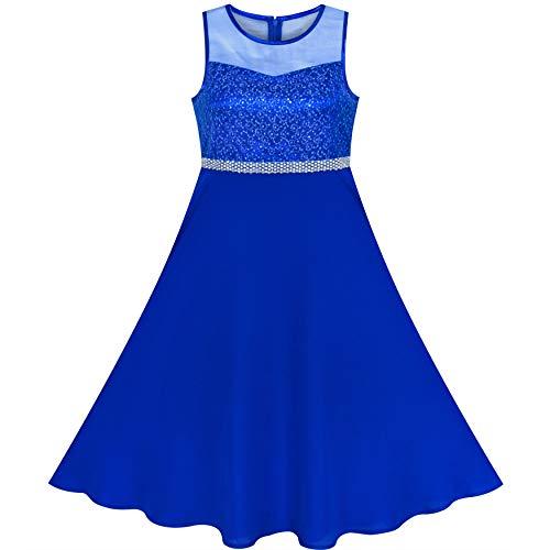 Sunny Fashion Vestido para niña Diamante de imitación Gasa Dama de Honor Baile Pelota Maxi Vestido 6-14 años