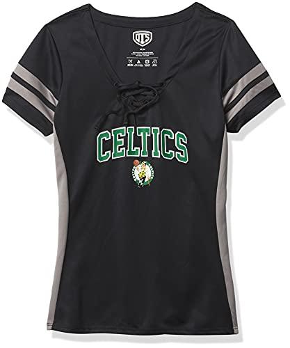 OTS NBA Boston Celtics Women's Poly Lace Up V-Neck Tee, Weber, X-Large