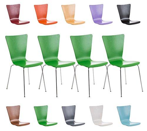 CLP Set 4X Sillas de Visita Aaron I Juego de 4X Silla de Comedor con Asiento de Madera I 4X Silla de Cocina Apilable I Color: Verde