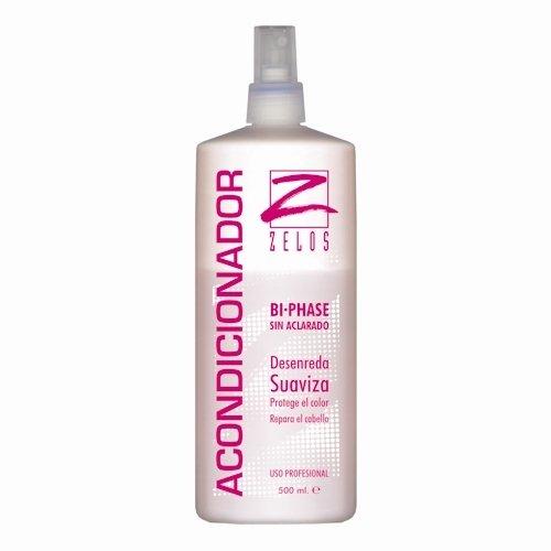 Acondicionador Sin Aclarado Bifásico para el Cabello - 500ml - Desenreda, Suaviza, Repara el pelo - Protector Térmico - Fija el color, Define el rizo - Uso Profesional - Zelos