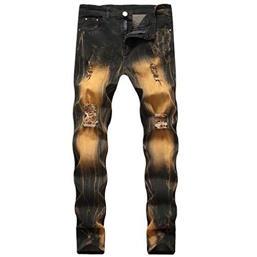 Xmiral Jeans Herren Retro Farbverlauf Straight Contrast Denim Hosen Slim Fit Große Größe Gewaschen Leggings Dunkler Stil(Braun,34)