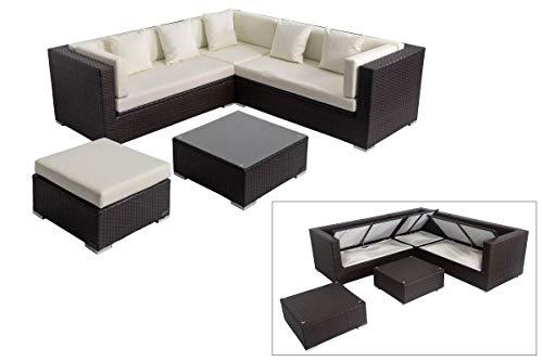 OUTFLEXX Loungemöbel-Set, braun aus Polyrattan-Geflecht, Loungeecke für 6 Personen, wasserfeste Kissenbox, inkl. Kaffeetisch