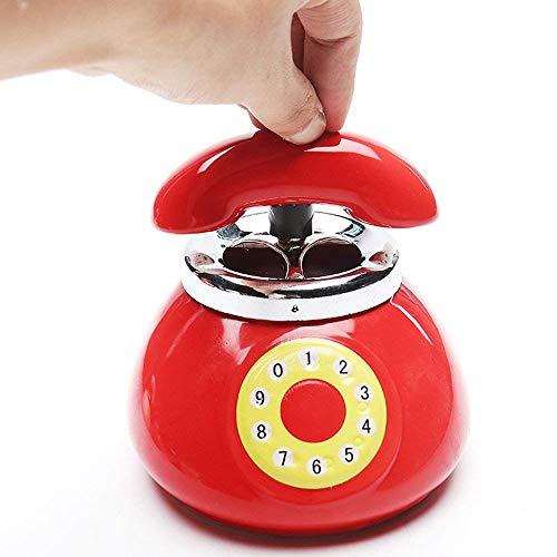 NACHEN Portacenere Telefonico Con Coperchio Grande Carino Posacenere In Ceramica Soggiorno Decorazioni Camera Da Letto,Red,13X12.5CM
