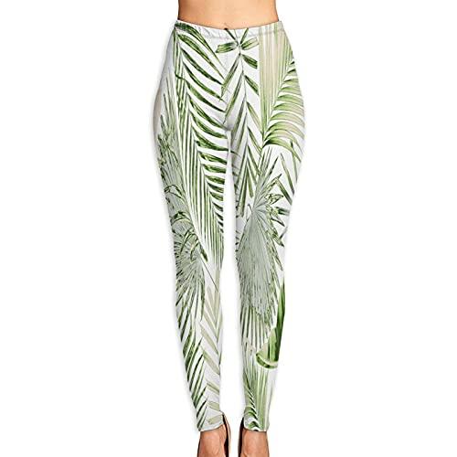 DmiGo Mallas Pantalones Deportivos Leggings,Fondo de Hoja de Palmera,Mujer Pantalones de Yoga de Alta Cintura Elásticos para Yoga Running Fitness y Pilates XL