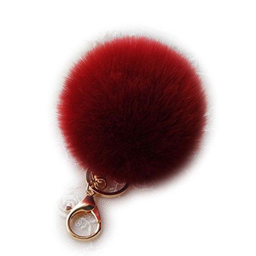 Sweet Home Damen Schlüsselanhänger aus weichem flauschigem Kunstfell, Pompom-Ball, Schlüsselanhänger, Handtaschenanhänger