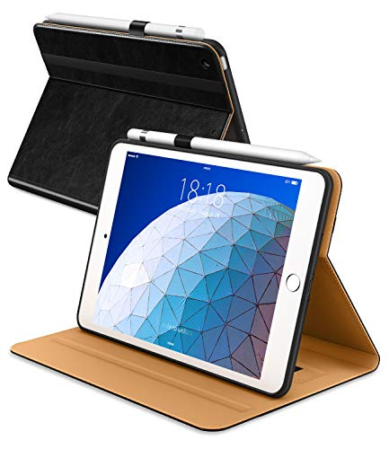 DTTO iPad Air 3rd Generation 10.5'' 2019 Case, [Noble Series] Leather Folio Cover Case with Apple Pencil Holder for iPad Air 3 10.5 Inch 2019 [Auto Sleep/Wake], Black