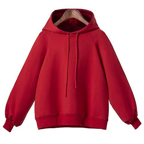 GOKOMO Pullover puffärmel Damen Pullover Laternen ärmel Damen Langärmliges, Loses, dünnes Kapuzenoberteil für Damen Kapuzenpullover(Rot,XXX-Large)