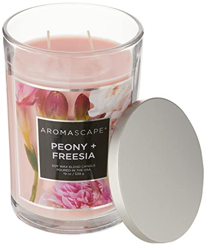 Aromascape PT41902 2-Wick Scented Jar Candle, Peony & Freesia, 19-Ounce, Pink