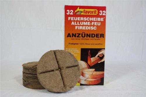 Favorit Feuerscheibe XXL; Echtholz und Wachs, besonders brennstark, Brenndauer ca. 8 -10 Minuten; 64 Stück - 1823