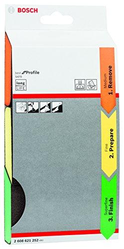 Bosch Professional 3tlg. Schleifschwamm S470 Best for Profile Set (Holz, Kunstoff und Metall, 69 x 97 x 26 mm, Zubehör Handschleifen)