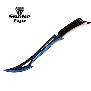 Snake Eye Tactical Zombie Slayer Fantasy Sword w/ Nylon Sheath Machete Outdoors Camping  Blue