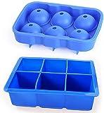 Bandeja de cubitos de hielo - Moldes de cubitos de hielo de silicona Molde de bolas de hielo reutilizable Plaza cuadrada y esfera para alimentos, whisky, cócteles, bebidas, cervezas, azul