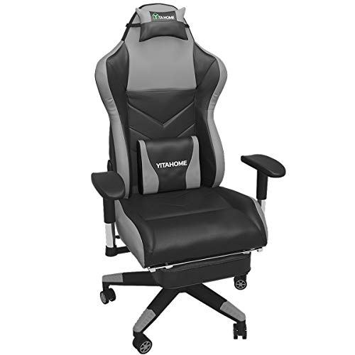 YITAHOME Gaming Chair Ergonomic Racing Style High Back PC Computer Game Chair, Big and Tall Reclining Adjustable Swivel Massage Office Desk Chair with Footrest, Black