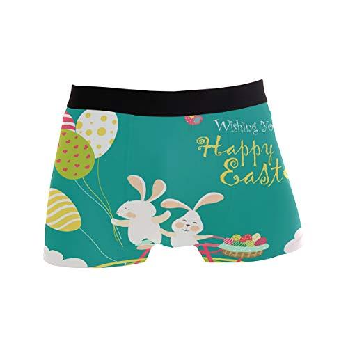 Bonipe Boxershorts mit lustigem Ostern, Cartoon-Hase, bunt, Eier, Unterwäsche, Jungen, Stretch, atmungsaktiv, niedrige Leibhöhe, Größe S Gr. L, mehrfarbig