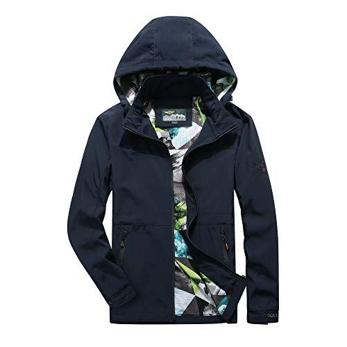 YJWSPD Elegante Manga Trench Coat Abrigo Sección Chaqueta con capucha cortavientos y transpirable-Royal Blue_M