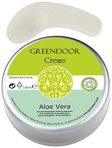 Vegane Greendoor Creme Aloe Vera wasserfrei 150ml, Avocado-Creme ohne Parabene, natürlich ohne Tierversuche, mit Bambus Holz Kosmetikspatel, Naturkosmetik, Natur Hautcreme, Geschenke