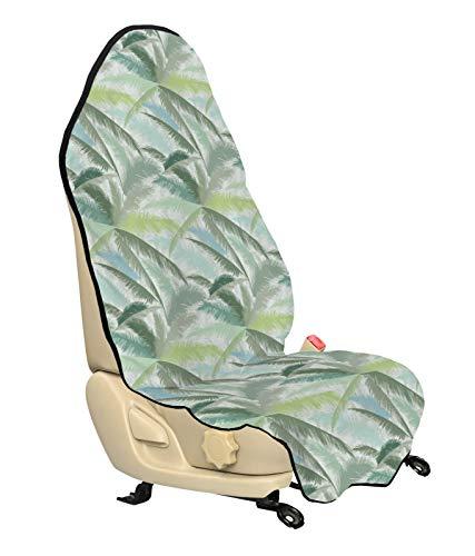 ABAKUHAUS Palmboom Beschermhoes voor autostoelen, Blad Groene Takken, met Antislip Achterkant, Universele Maat, 75 x 145 cm, Veelkleurig