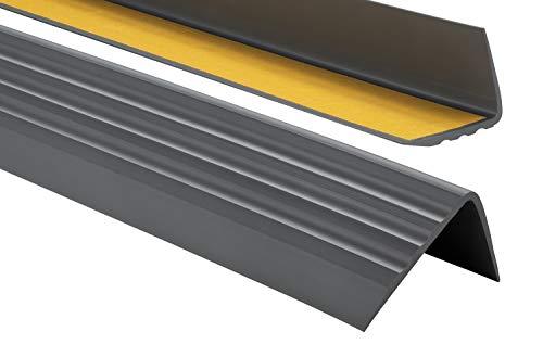 PVC Treppenkantenprofil Selbstklebend Winkelprofil Anti-Rutsch Treppenkante 50x40mm - 0,80m, Anthrazit