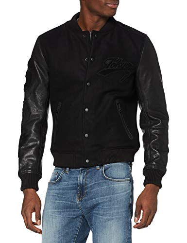 Superdry A3-Leather Chaqueta, Negro, XL para Hombre