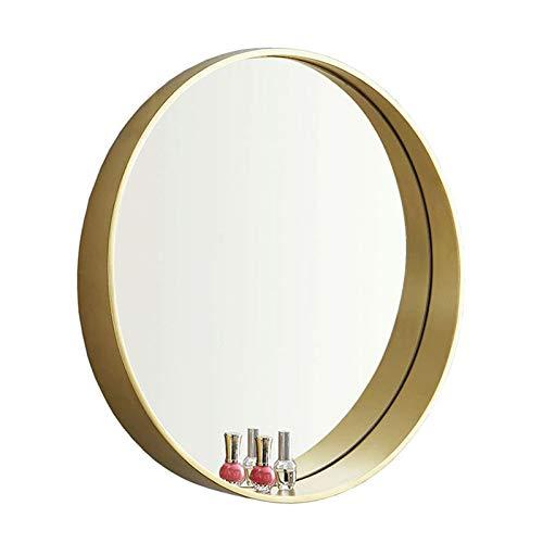 Bathroom mirror Miroir de Salle de Bains en Or de 60 cm, Cadre de Cercle en Bois Massif, Miroir Mural de Chambre à Coucher Salon Simple,Set Design Profond, 23,6 inch