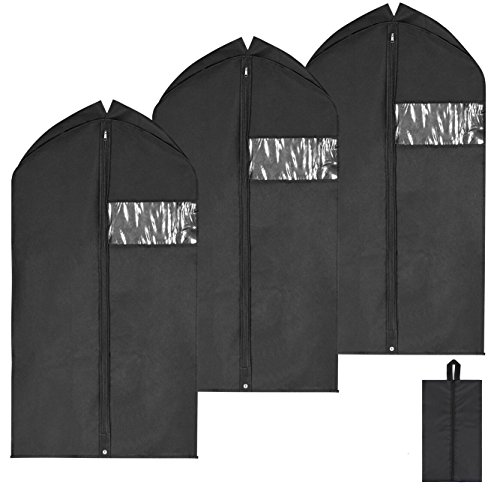Magicfly Garment Bags for Suits, 42 Inch Suit Cover Bag for Men Travel, Hanging Cover for Men Suits Full Zipper, Pack of 3, Black
