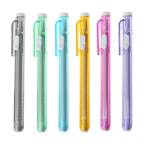 MYA - 1 lápiz mecánico con forma de goma, lápiz de borrado retráctil con goma de lápiz recargable, lápiz de goma mecánica con recambios de goma