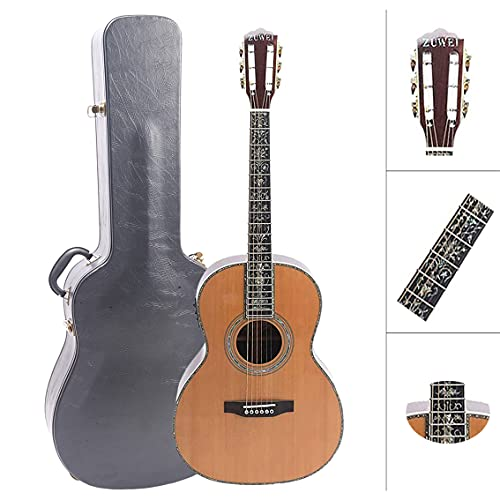ZUWEI 39in Handmade Electric Acoustic Guitar Solid Red Spruce Top Rosewood Back Side Abalone Inlay, Ebony Fingerboard Lower Action Bone Nut& Saddle Free Hardcase Gloss Finish Gold Hardware