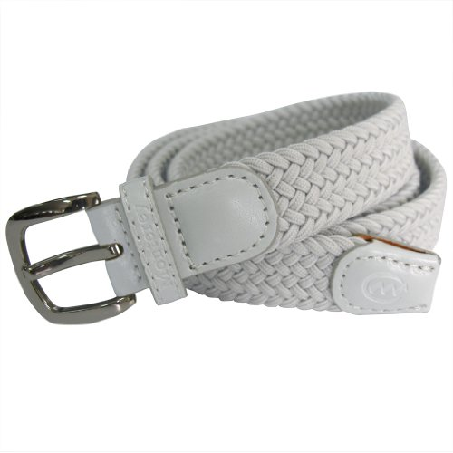 Monterey Club Women's Woven Elastic Braided Belt with Brushed Silver Buckle #BL02 (White, Large)