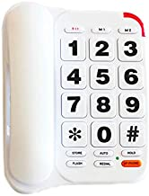 Large Button Phone for Seniors, HePesTer P-46 Amplified Corded Phone for Elderly with Louder Volume/Speed Dial/SOS Emergency Home Landline Phones Wall Mountable