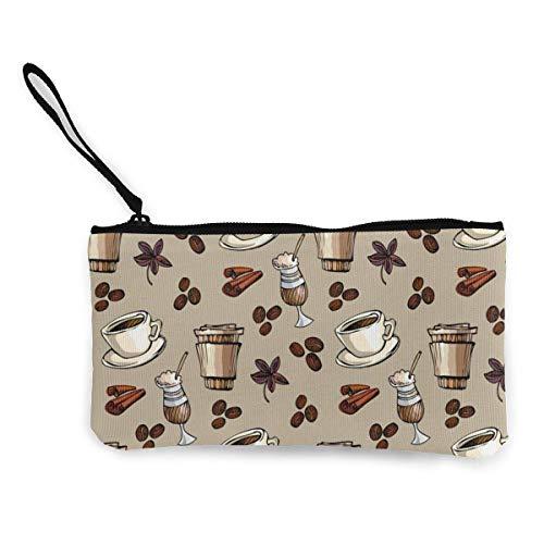 Trista Bauer Kaffeetasse Bohnen Männer und Frauen Nette Mode Persönlichkeit Leinwand Münzgeldbörse mit Reißverschluss Make-up-Tasche mit Handgelenkriemen Bargeld Telefon-Tasche 8,5 x 4,5 Zoll