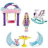 Barbie Dreamtopia coffret Pyjama Party Étoilée avec mini-poupée Chelsea Princesse, lit superposé, balançoire et accessoires, jouet pour enfant, GTF50
