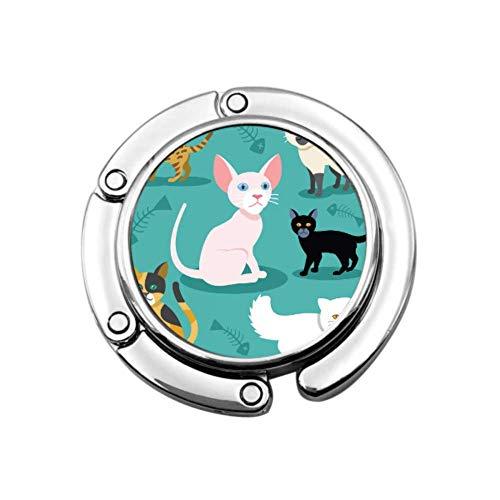 Hermoso Lindo Gatito siamés Animal Gancho de Mesa Perchas Monedero diseños únicos Mesa de Almacenamiento de sección Plegable