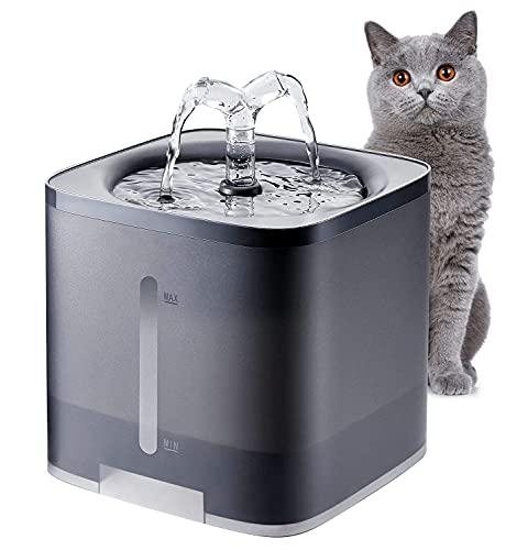 Delgeo Fuente para Gatos, Bebedero Gatos, Bebedero Automático Fuente de Agua Silencia para Mascotas Gatos Perros 2 Modos Ajustable 2L (Negro)