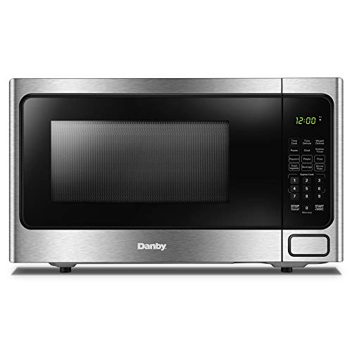 Danby DDMW1125BBS 1000 Watts 1.1 Cu.Ft. Countertop Microwave with Push Button Door|10 Power Levels, 6 Cooking Programs|Auto Defrost and Child Lock, Stainless Steel
