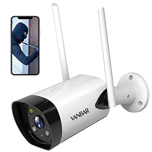 VANBAR Überwachungskamera Aussen, WLAN IP Kamera 1080P Outdoor Kamera mit Nachtsicht 30M, IP66 Wasserdicht, Bewegungserkennung, Alarmmeldung, Motion Tracking 2-Wege-Audio Kompatibel mit Android/IOS