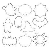 NiceButy Molde De Galletas De Halloween Acero Inoxidable DIY Craft Fondante Fondante Kit De Moldo 10pcs