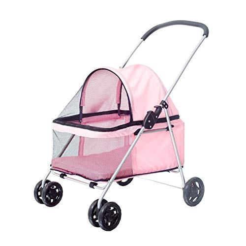 Cochecito para Perro, Carrito Carro Silla Mascota para Caminar 4 Ruedas Al Aire Libre para Perro Discapacitado Carretilla Gato Plegable De Bebe (Color : Rosado)