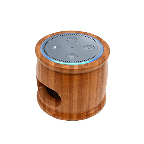 Natural Solid Bamboo Wood Stand Holder for Alexa Echo Dot No Messy Wires or Screws,Compact Holder Case Plug in Kitchens, Bathroom And Bedroom