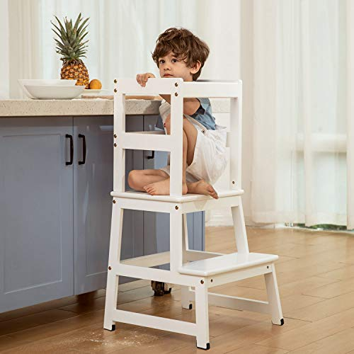 Kitchen Helper Step Stool for Kids and Toddlers with Safety Rail Children Standing Tower for Kitchen Counter, Mothers' Helper Kids Learning Stool, Solid Wood Construction (White)