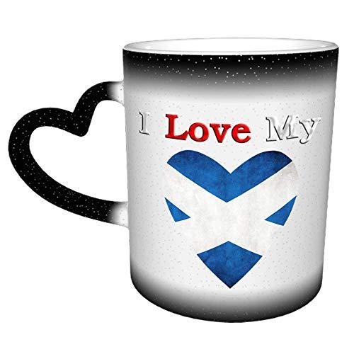 Amo mi bandera escocesa F Taza Taza de café Cerámica Manija de corazón de cerámica