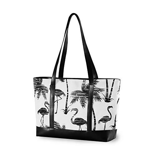 RELEESSS Tragetasche Laptoptaschen Tropische Flamingo-Palme Handtasche Schultertasche Laptoptasche für Frauen Damen Mädchen
