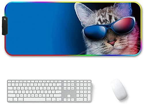 YYTTLL Alfombrilla De Ratón para Juegos RGB, Gran Tama?o, Modos XXL, Alfombrilla De Ratón LED Brillante para Ordenador De Escritorio, con Gafas De Sol 800mmX300mmX4mm